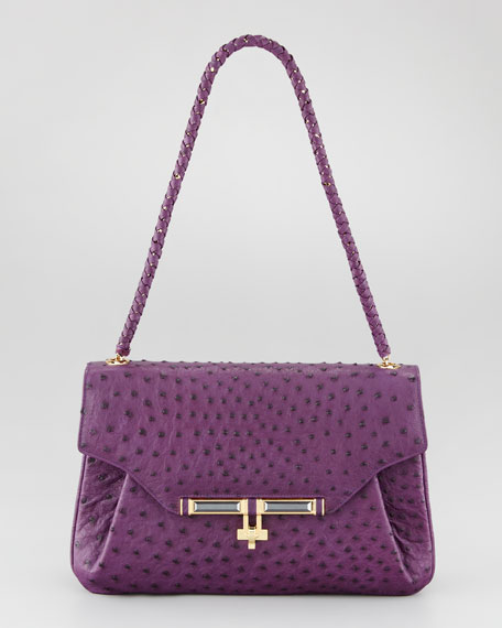 Urbana Ostrich Satchel Bag, African Violet
