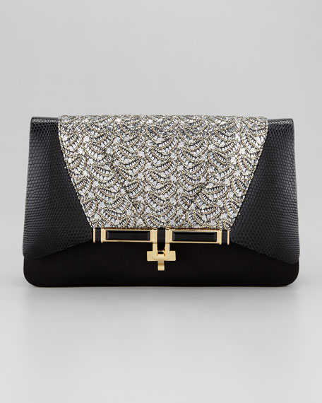 Priscilla Sequined Clutch Bag, Black/Gold