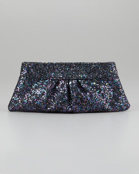 Eve Snap-Frame Glitter Clutch Bag, Twilight