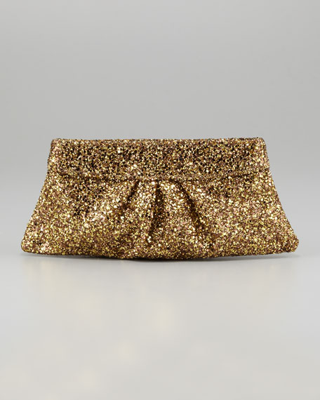 Eve Snap-Frame Glitter Clutch Bag, Gold