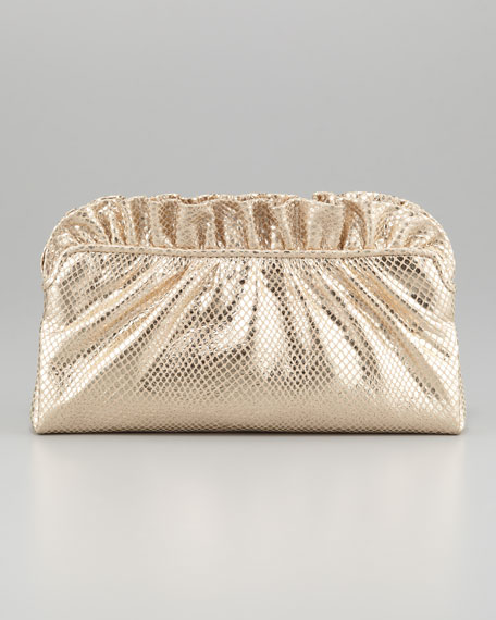 Georgie Python-Embossed Ruffle-Top Clutch Bag, Pale Gold