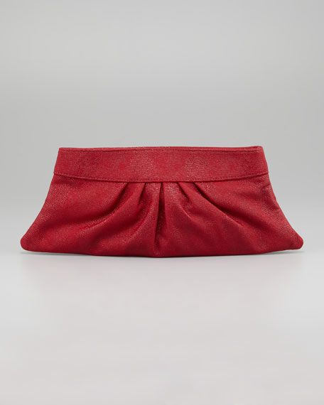 Louise Lizard-Embossed Clutch Bag, Crimson