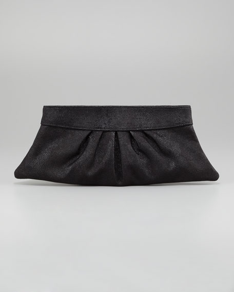 Louise Lizard-Embossed Clutch Bag, Black