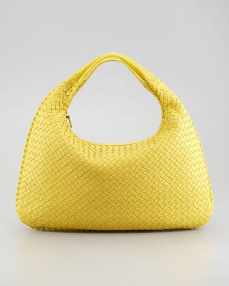 Veneta Large Woven Hobo Bag, Yellow