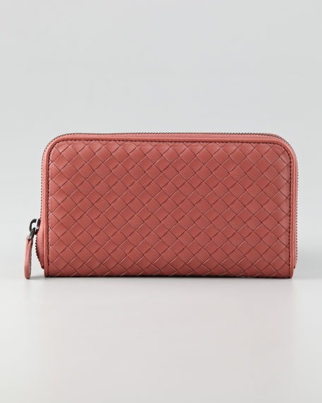 Woven Leather Continental Wallet, Coral