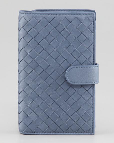 Woven Continental Fold Wallet, Blue
