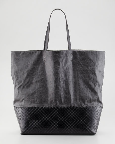 Large Coated Linen Tote Bag, Black