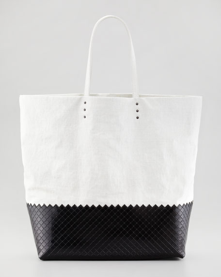 Large Coated Linen Tote Bag, Off White