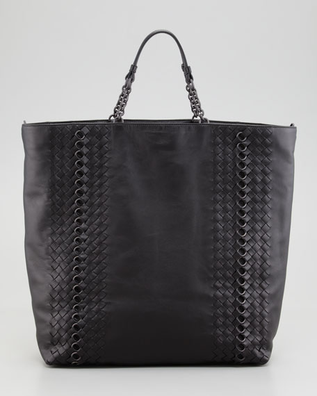 Napa Leather Circle-Link Tote Bag, Black