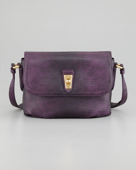 Lizzie Spotless Embossed Crossbody Bag, Bright Purple