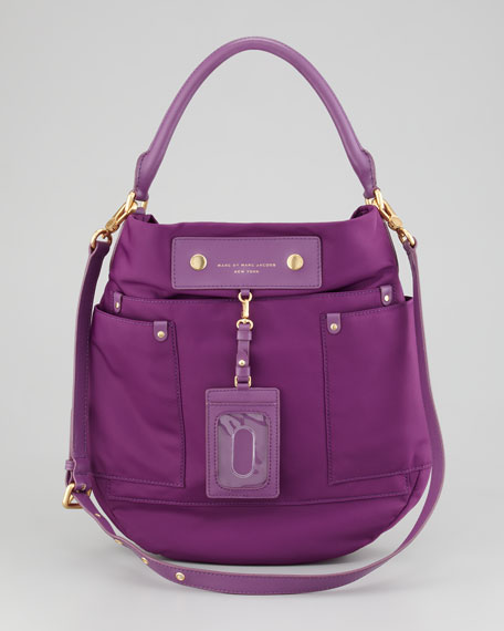 Preppy Nylon Hobo Bag, Violet