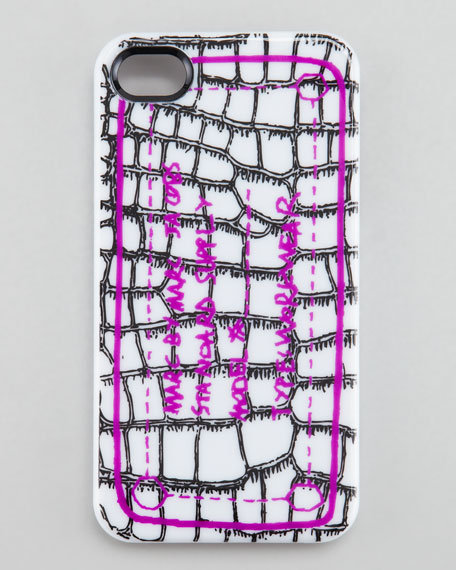 Trompe Croc-Print iPhone 4 Case, White Snow