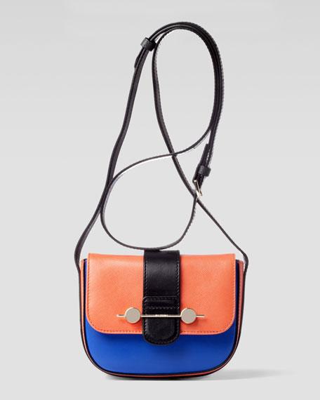 Daphne Mini Colorblock Crossbody Bag, Orange/Blue