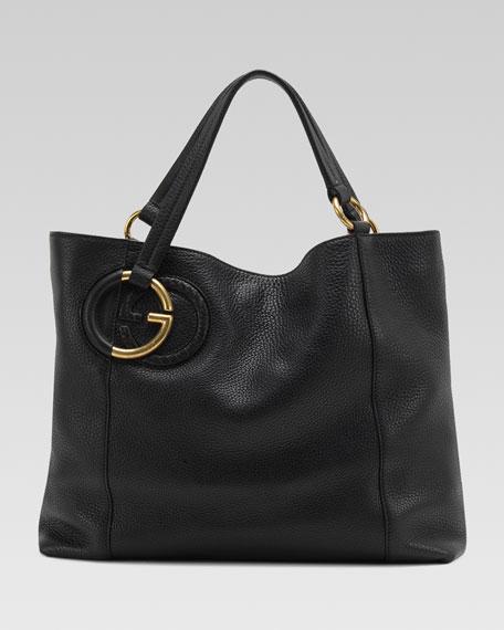 Twill Leather Medium Shoulder Bag, Black