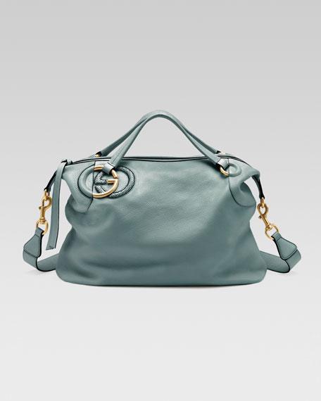 Twill Leather Large Shoulder Bag, Splash