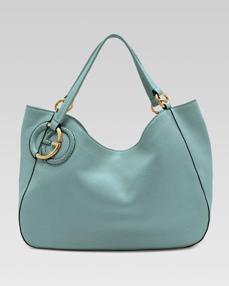 Twill Leather Medium Shoulder Bag, Splash