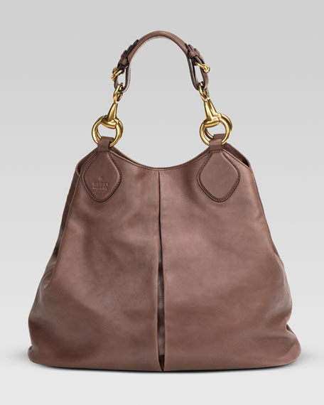 Soft Icon Leather Tote, Pink-Tan