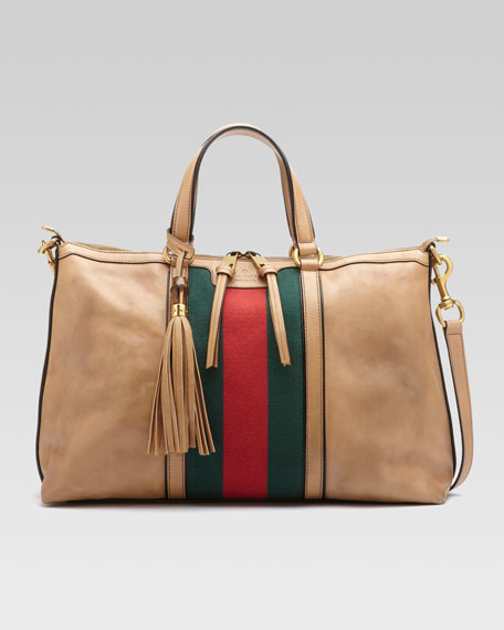 Rania Leather Top Handle Bag, Classic Khaki