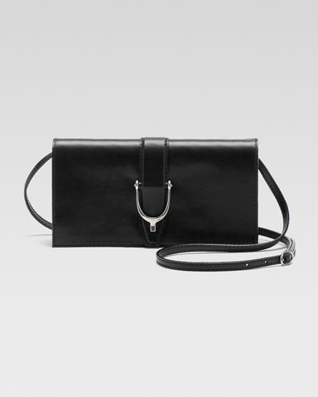 Soft Stirrup Small Leather Shoulder Flap Bag, Black