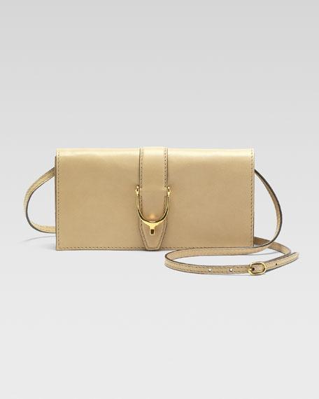 Soft Stirrup Small Leather Shoulder Flap Bag, Cream