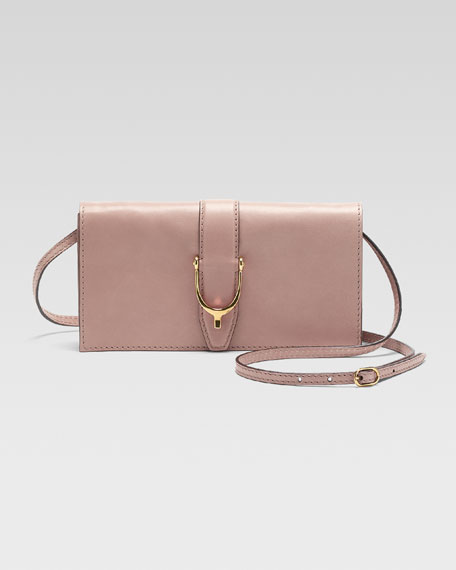 Soft Stirrup Small Leather Shoulder Flap Bag, Dark Cipria