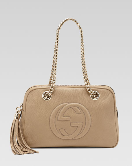 Soho Leather Double-Chain-Strap Shoulder Bag, Cream