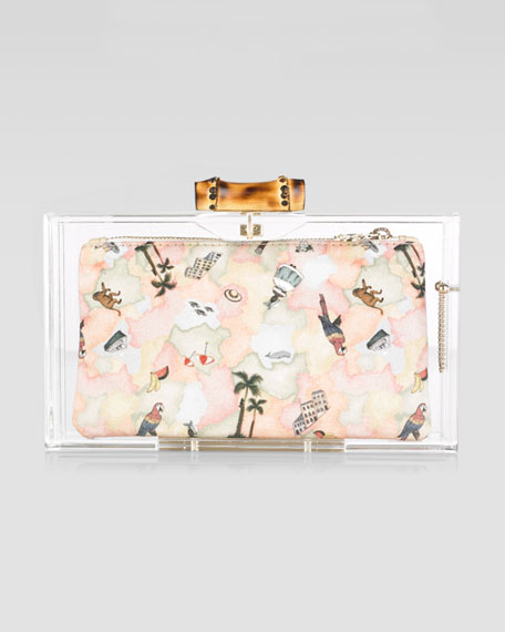 Bamboo Pandora Clutch Bag, Transparent