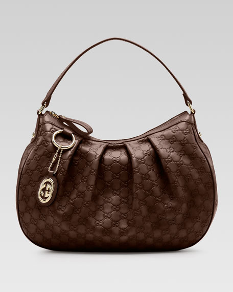 Sukey Guccissima Leather Medium Hobo Bag, Chocolate
