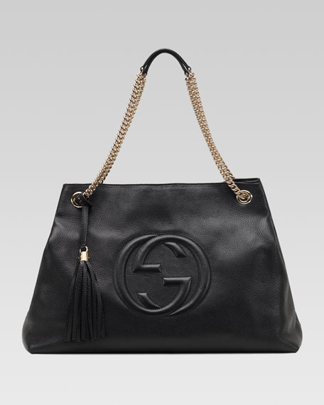 7f8faa39cf1 Gucci Soho Large Leather Double-Chain-Strap Shoulder Bag