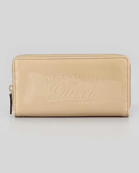 Glossy Zip Around Wallet, Cream
