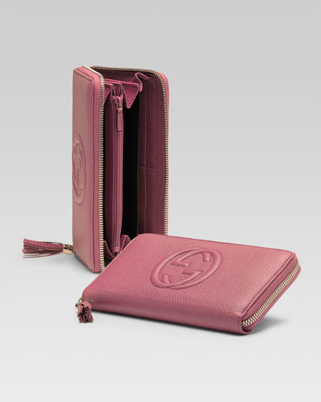 Soho Leather Zip-Around Wallet, Vintage Rose