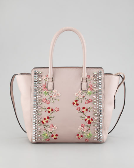 Rockstud Crystal-Embellished Tote Bag