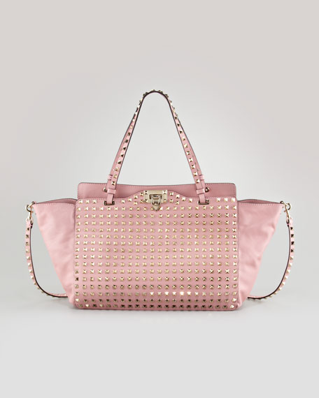 Rockstud Medium Tote Bag, Pop Gardenia