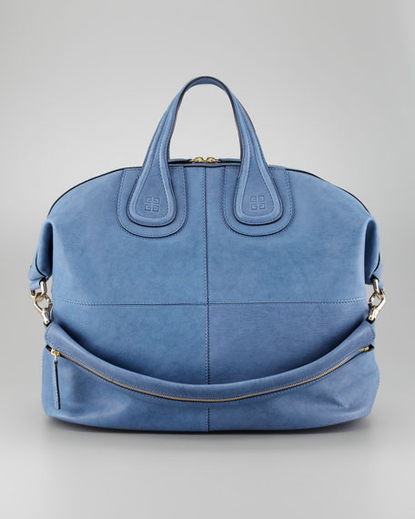 Nightingale Zanzi Large Leather Satchel Bag, Sky