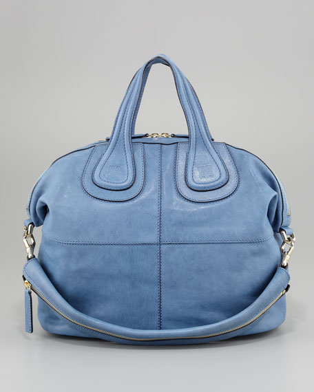 Nightingale Zanzi Medium Leather Satchel Bag, Sky Blue