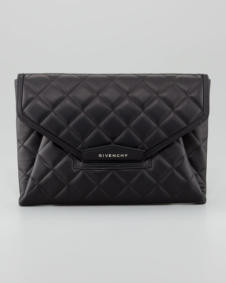 Antigona Padded Quilt Envelope Clutch Bag, Black
