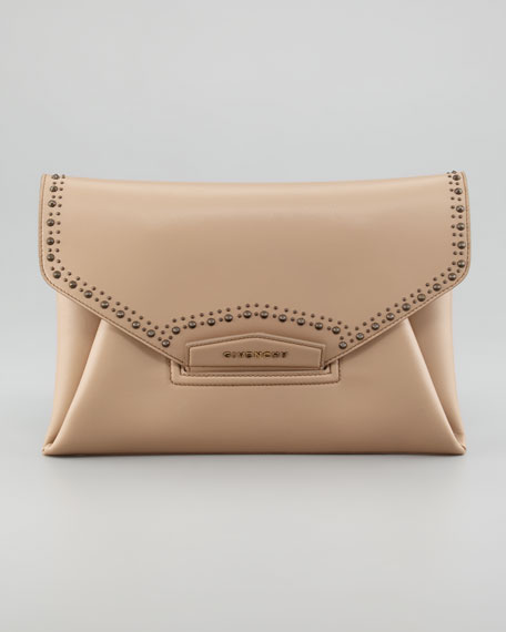 Antigona Studded Envelope Clutch Bag, Linen