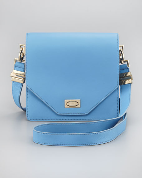 Flap-Top Crossbody Bag, Sky Blue