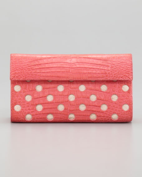 Crocodile Dot Clutch Bag, Pink