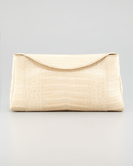 Crocodile Chain Clutch Bag, Nude