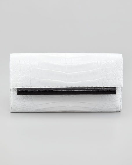 Two-Tone Crocodile Clutch Bag, White/Black