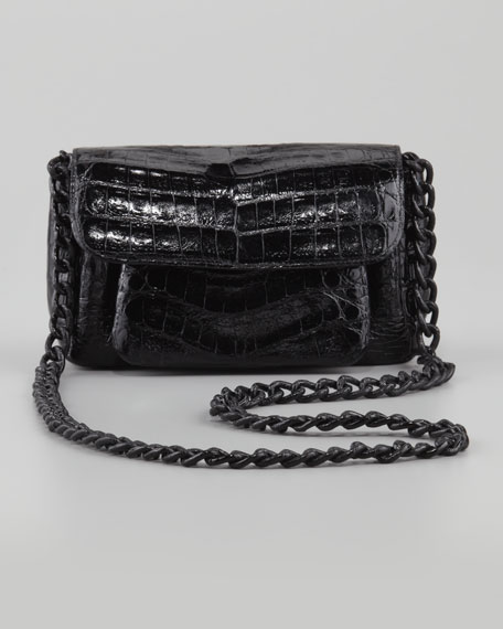 Crocodile Compartmentalized Boxy-Flap Crossbody Bag, Black