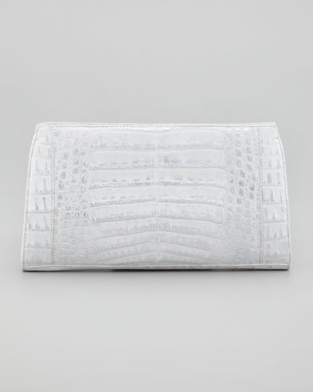Metallic Crocodile Clutch Bag, Silver/White