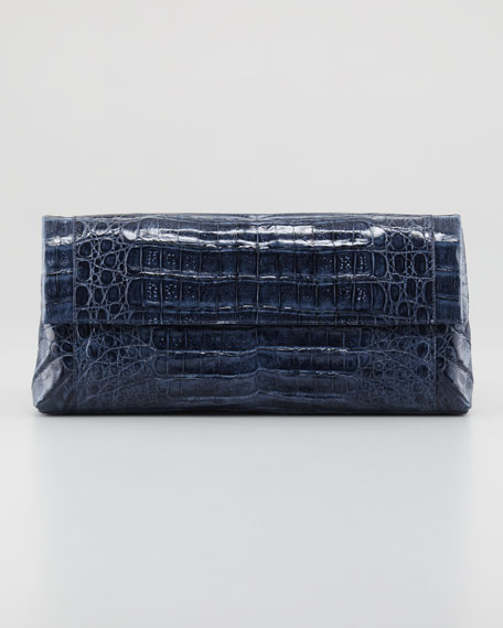 Flap-Top Crocodile Clutch Bag, Navy