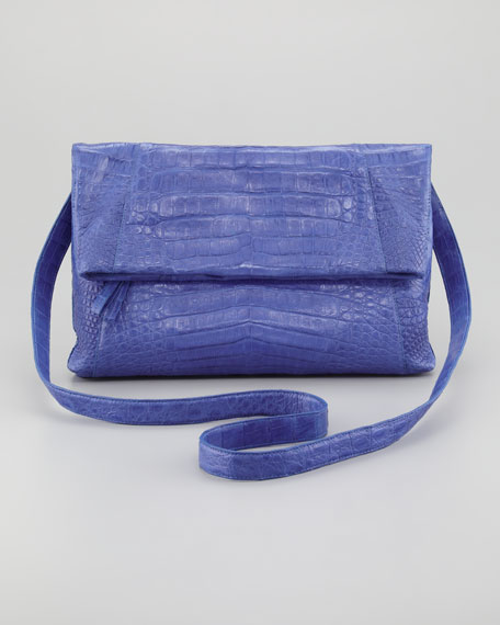 Crocodile Fold-Over Crossbody Bag, Blue