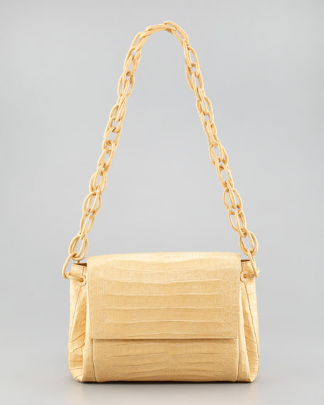 Crocodile Chain Shoulder Bag, Butter