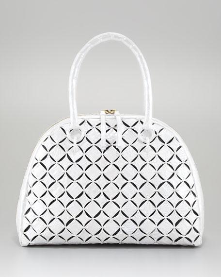 Crocodile Bowler Bag, Black Linen