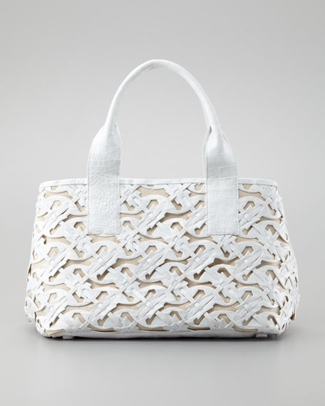 Cutout Crocodile Tote Bag, White