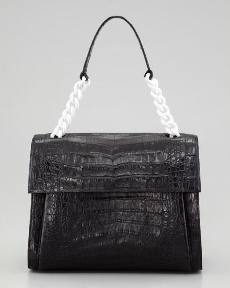 Crocodile Chain Shoulder Bag, Black/White