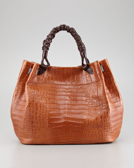 Crocodile Hobo Bag, Cognac/Brown